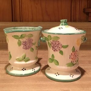 RARE 1989 Majolica Sugar and Creamer/Haldon Group